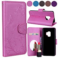 cheap -Case For Samsung Galaxy S9 S8 Card Holder Flip Pattern Full Body Cases Solid Colored Butterfly Hard PU Leather for S9 Plus S9 S8 Plus S8