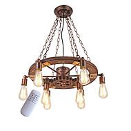billige Takbelysning og vifter-vintage anheng lys dreibart treutstyr kreativ industriell lampe amerikansk stil for stue restaurant barer 8-lys malte finish
