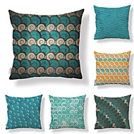 billige Bestselgere-6 stk Tekstil / Bomull / Lin Putevar, Polkadotter / Art Deco / Printer Geometrisk / Kvadrat-formet