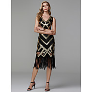 מעטפת \ עמוד צווארון V באורך הקרסול פוליאסטר נוצץ וזוהר מסיבת קוקטייל שמלה עם נצנצים על ידי TS Couture®