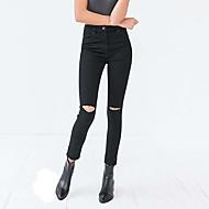 女性用 ストリートファッション ハイウエスト タイト スリム ジーンズ パンツ ソリッド
