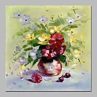 billiga Blom-/växtmålningar-Hang målad oljemålning HANDMÅLAD - Stilleben / Blommig / Botanisk Traditionell Duk