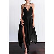 Femme Sortie Maxi Mince Balançoire Robe Couleur Pleine Taille haute V Profond Noir Vin M L XL Sans Manches / Super sexy