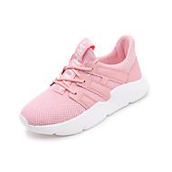 billige Træningssko til damer-Dame Sko Net / PU Forår sommer Komfort Sportssko Gang Flade hæle Rund Tå Hvid / Sort / Lys pink