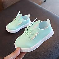 baratos Sapatos de Menina-Para Meninas Sapatos Couro Ecológico Primavera Verão Conforto Tênis Caminhada Pérolas Sintéticas para Infantil Branco / Rosa claro / Verde Claro