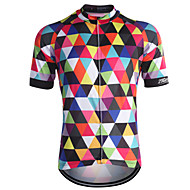 cheap -21Grams Men's Short Sleeve Cycling Jersey - Rainbow Plaid / Checkered Bike Jersey Top Breathable Quick Dry Back Pocket Sports Coolmax® 100% Polyester Mountain Bike MTB Road Bike Cycling Clothing