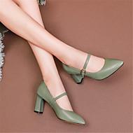 baratos Sapatos Femininos-Mulheres Sapatos Pele Primavera Verão Plataforma Básica Saltos Salto Robusto Dedo Apontado Branco / Preto / Verde