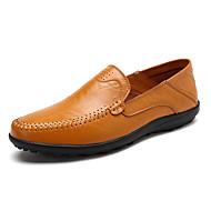בגדי ריקוד גברים מוקסין עור סתיו נעליים ללא שרוכים שחור / צהוב / חום
