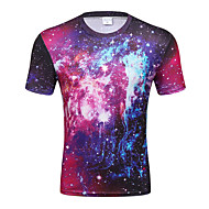 Heren Standaard / Street chic Print T-shirt Club Kleurenblok Ronde hals / Korte mouw