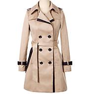 Patchwork, Dame Ensfarvet Trenchcoat