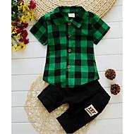 Kinder Jungen Aktiv Alltag Solide / Verziert Druck Kurzarm Standard Baumwolle Kleidungs Set Blau