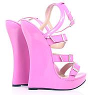 baratos Sapatos Femininos-Mulheres Sapatos Couro Ecológico Primavera Verão Chanel Sandálias Salto Plataforma Ponta Redonda Pêssego / Festas & Noite