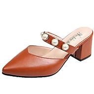 preiswerte -Damen Schuhe PU Sommer Fersenriemen Cloggs & Pantoletten Blockabsatz Spitze Zehe Beige / Hellbraun