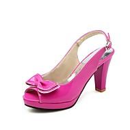 Dame Sko PU Sommer Slingback Sko Sandaler Kraftige Hæle Kigge Tå Rosette Rosa / Blå / Lys pink