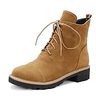 baratos 2018 Botas Femininas-Mulheres Sapatos Couro Ecológico Outono & inverno Botas da Moda Botas Salto Baixo Ponta Redonda Botas Curtas / Ankle Preto / Amêndoa
