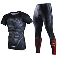 Herre Yoga Suit - Mørkegrå, Bourgogne, Mørkegrøn Sport Spandex Kompressionstøj / Tøjsæt Træning & Fitness Sportstøj Elastisk