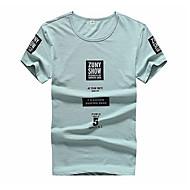 Rund hals Herre - Bogstaver Bomuld Plusstørrelser T-shirt Hvid / Kortærmet