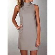 Γυναικεία Εξόδου Λεπτό Θήκη Φόρεμα Μίνι Ψηλή Μέση Στρογγυλή Ψηλή Λαιμόκοψη / Sexy