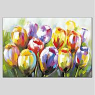 billiga Oljemålningar-Hang målad oljemålning HANDMÅLAD - Blommig / Botanisk Moderna Duk