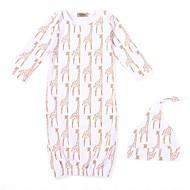 billige Undertøj og sokker til babyer-Baby Pige Trykt mønster Halvlange ærmer Nattøj