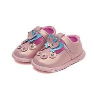 baratos Sapatos de Menina-Para Meninas Sapatos Couro Ecológico Primavera Verão Conforto / Sapatos para Daminhas de Honra Rasos Caminhada Laço / Flor / Velcro para Bébé Branco / Rosa claro