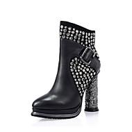 baratos Sapatos Femininos-Mulheres Sapatos Pele Outono & inverno Coturnos Botas Salto Robusto Ponta Redonda Botas Cano Médio Tachas Preto