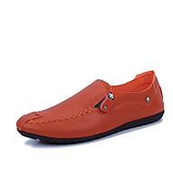 Hombre Mocasín PU Primavera Zapatos de taco bajo y Slip-On Blanco / Negro / Naranja