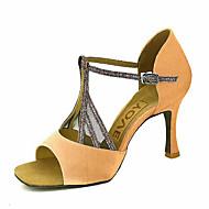 baratos Sapatilhas de Dança-espumante brilho superior sapatos de dança latina sandálias femininas personalizadas com zíper