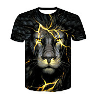 abordables -Hombre Básico / Chic de Calle Discoteca Estampado Camiseta, Escote Redondo Bloques / Animal León / Manga Corta
