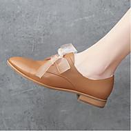 baratos Sapatos Femininos-Mulheres Sapatos Pele Napa Primavera / Outono Conforto Oxfords Salto Robusto Dedo Apontado Preto / Bege / Camel