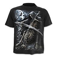 男性用 Tシャツ 活発的 / ベーシック 幾何学模様 / スカル