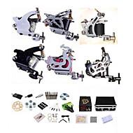 billiga Lågpris Tattoo Kit-BaseKey Tattoo Machine Professionell Tattoo Kit - 2 pcs Tatueringsmaskiner LCD strömförsörjning Fodral inkluderat 2 x stål tatueringsmaskin för linjer och skuggning