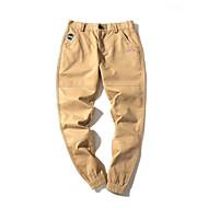 hesapli Under $13.99-Erkek Actif Büyük Bedenler Pamuklu / Keten Harem / Eşoğman Altı Pantolon - Büzgülü, Solid Siyah ve Beyaz / Bahar