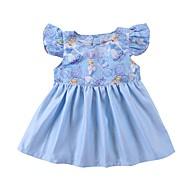 Baby Pige Aktiv / Basale Trykt mønster Uden ærmer Bomuld / Polyester Kjole Blå