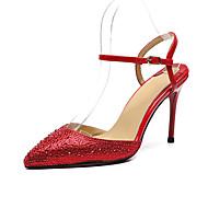 baratos Sapatos Femininos-Mulheres Sapatos Pele Primavera Verão Chanel Sandálias Salto Agulha Dedo Apontado Gliter com Brilho / Presilha Preto / Vermelho / Casamento / Festas & Noite