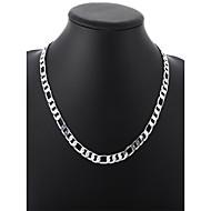 Herre Cubanske link Kædehalskæde - Sølvbelagt Simple, Basale, Mode Sej Sølv 50 cm Halskæder Smykker 1pc Til Daglig, Gade