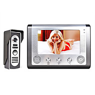 billige Tilgangskontrollsystem-MOUNTAINONE M801M11 7 Inch Video Door Phone Doorbell Intercom Med ledning / Kabel 7 tommers Håndfri 480*234*3 pixel En Til En Video