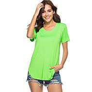Enfärgad T-shirt - Grundläggande Dam V-hals Vin L / Sommar