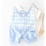 赤ちゃん 男の子 ベーシック 日常 パッチワーク パッチワーク 半袖 コットン / ポリエステル ワンピース ライトグリーン