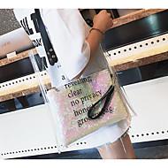 baratos Bolsas de Ombro-Mulheres Bolsas PVC Bolsa de Ombro Ziper Branco / Prateado
