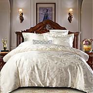 cheap Home Textiles-Duvet Cover Sets Luxury Polyster Jacquard 4 PieceBedding Sets / 300 / 4pcs (1 Duvet Cover, 1 Flat Sheet, 2 Shams)