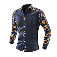Hombre Vintage / Básico Estampado Camisa Floral Azul Marino L / Manga Larga / Primavera / Verano