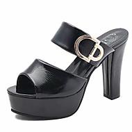 baratos Sapatos Femininos-Mulheres Sapatos Couro Ecológico Verão D'Orsay Sandálias Salto Robusto Branco / Preto / Vermelho