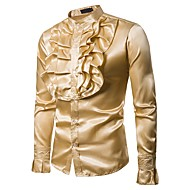 Men's Party / Club Luxury / Vintage / Basic Shirt - Solid Colored Ruffle Standing Collar / Long Sleeve