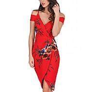 Χαμηλού Κόστους -Γυναικεία Αργίες / Εξόδου Σέξι Λεπτό Θήκη Φόρεμα - Φλοράλ, Στάμπα / Wrap Ως το Γόνατο Ώμοι Έξω