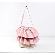 baratos Bolsas Tote-Mulheres Bolsas Palha Tote Caixilhos / Fitas Branco / Rosa