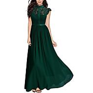 Damen Party Ausgehen Elegant Swing Kleid - Spitze, Solide Maxi Rundhalsausschnitt