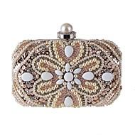 baratos Clutches & Bolsas de Noite-Mulheres Bolsas Poliéster Bolsa de Festa Lantejoulas / Detalhes em Pérolas Floral Champanhe / Branco