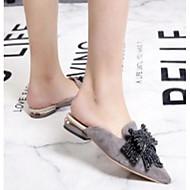 baratos Sapatos Femininos-Mulheres Sapatos Pele Napa Primavera / Verão Conforto Tamancos e Mules Salto Baixo Preto / Cinzento Claro