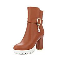 Mujer Zapatos PU Otoño invierno Botas de Moda Botas Tacón Cuadrado Dedo redondo Blanco / Negro / Beige / Fiesta y Noche ensoleillement EFeOT6WYBh